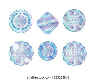 Holographic collection shapes illustration sticker quality emblem