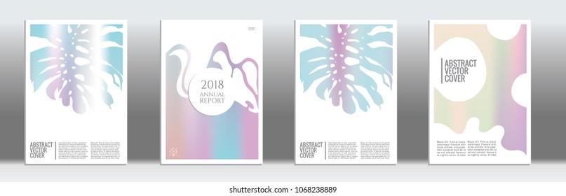 Holographic cover. Exotic flyer on rainbow background.  Fluid poster design.  Brochure foil design. Holographic backdrop. Stylish vector cover design.  Abstract gradient retro texture.