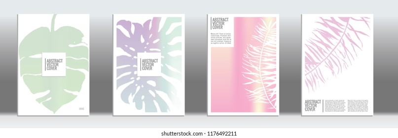 Holographic cover. Exotic flyer on rainbow background.  Liquid design. Brochure foil design. Holo backdrop. Stylish vector cover design.  Abstract gradient vintage texture.