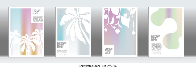 Holographic cover. Exotic flyer on rainbow background.  Fluid poster design.  Brochure foil design. Holo backdrop. Stylish vector cover design.  Abstract gradient retro texture.