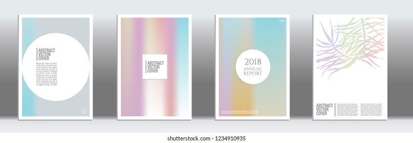 Holographic cover. Minimal flyer on light background.  Liquid design. Brochure foil design. Holo backdrop. Stylish vector cover design.  Abstract gradient vintage texture.