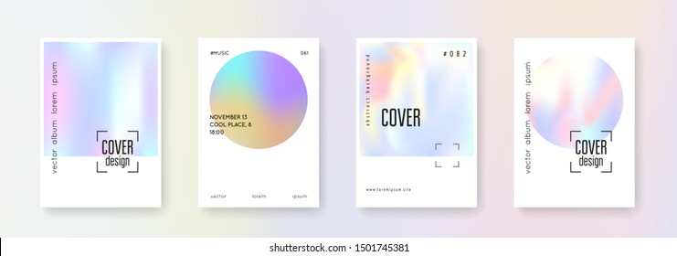 Holographic cover set. Abstract backgrounds. Retro holographic cover with gradient mesh. 90s, 80s retro style. Pearlescent graphic template for placard, presentation, banner, brochure.