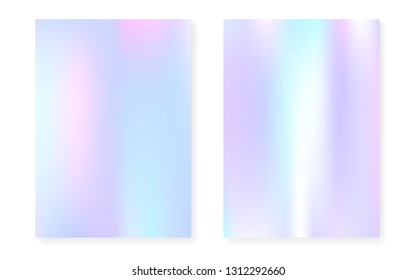 Holographic cover set with hologram gradient background. 90s, 80s retro style. Pearlescent graphic template for book, annual, mobile interface, web app.