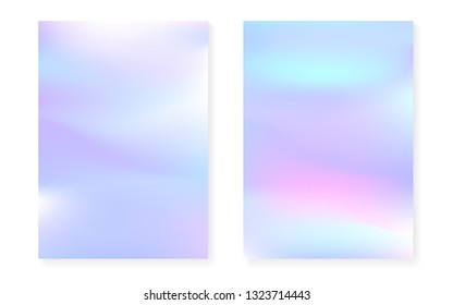 Holographic cover set with hologram gradient background. 90s, 80s retro style. Pearlescent graphic template for placard, presentation, banner, brochure. Futuristic minimal holographic cover.