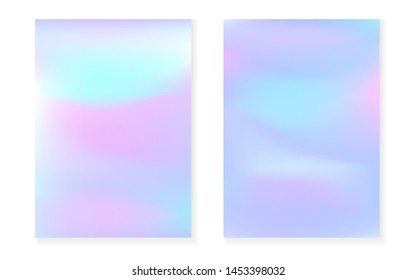 Holographic cover set with hologram gradient background. 90s, 80s retro style. Iridescent graphic template for flyer, poster, banner, mobile app. Fluorescent minimal holographic cover.
