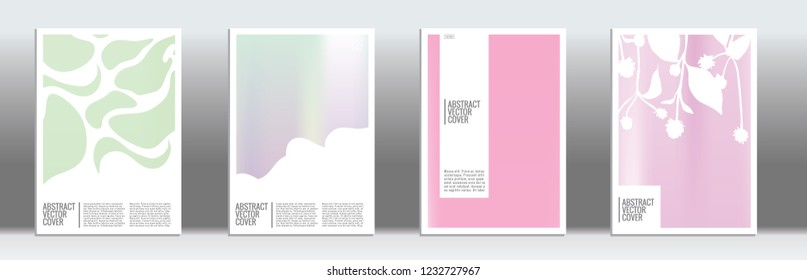Holographic cover set. Minimal flyer on light background.  Liquid design. Brochure template design. Holo backdrop. Stylish vector cover design.  Abstract gradient vintage texture.