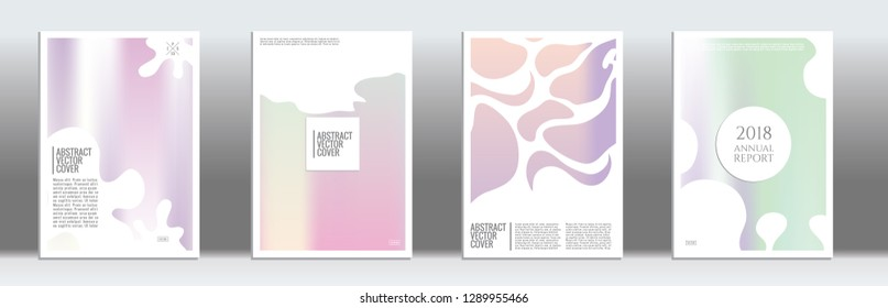 Holographic cover set. Minimal flyer on light background.  Fluid poster design.  Brochure foil design. Holo backdrop. Stylish vector cover design.  Abstract gradient retro texture.