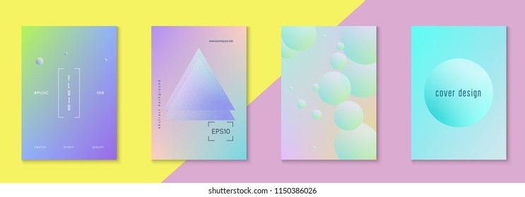 Holographic cover set with radial fluid. Geometric shape on gradient background. Modern hipster template for placards, banners, flyers, report, brochure. Minimal holographic cover in neon color