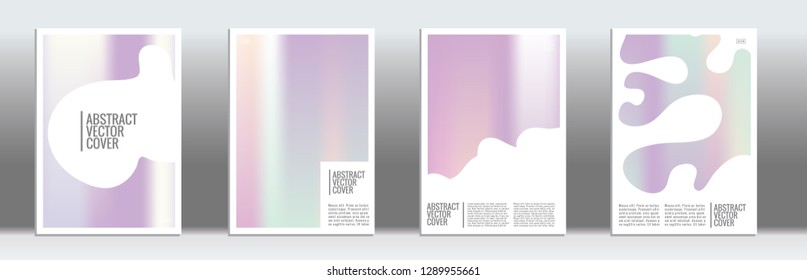 Holographic cover. Tropical flyer on rainbow background.  Fluid poster design.  Brochure template design. Holo backdrop. Stylish vector cover design.  Abstract gradient retro texture.