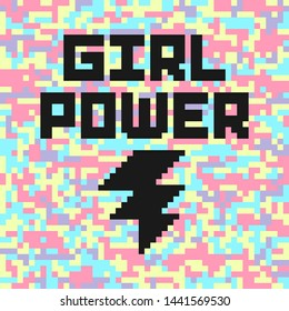 Holographic digital camouflage poster with girl power quote. Feminist slogan. Abstract pixel background.