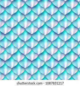Holographic fantasy scale vector background. Mermaid skin texture seamless pattern. Dragon scales design.