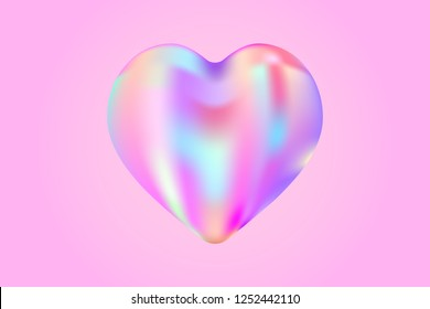 holographic fluid liquid heart. stock vector illustration clipart