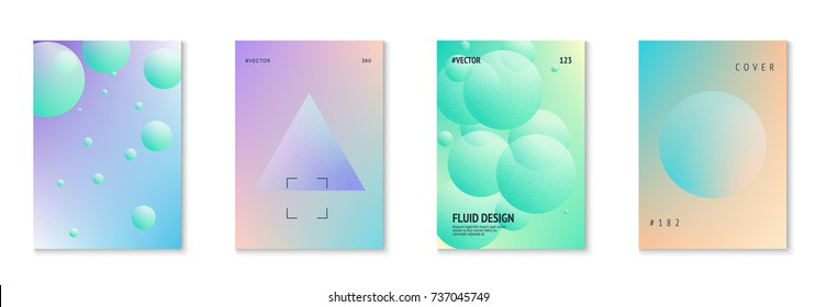 Holographic fluid set with radial circles. Geometric shapes on gradient background. Modern hipster template for poster, cover, banner, flyer, report, brochure. Minimal holographic fluid in neon colors
