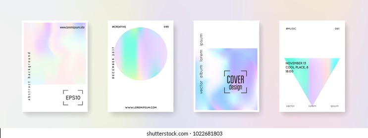 Holographic flyer set. Abstract backgrounds. Bright holographic flyer with gradient mesh. 90s, 80s retro style. Pearlescent graphic template for book, annual, mobile interface, web app.