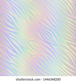 Holographic foil. Hologram hipster design. Seamless pattern. Fashion stylish texture. Wonderful wallpaper colorful lines. Beautiful rainbow background. Iridescent art. Trendy stylish design neon color
