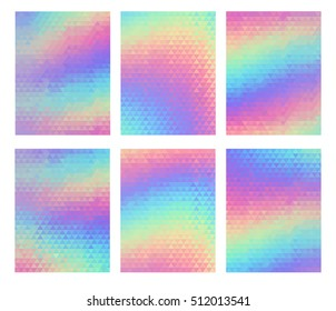 Holographic geometric background, vector set. 80s and 90s fashion design. Trend art posters. Holography background for your text. Futuristic template with shiny effect