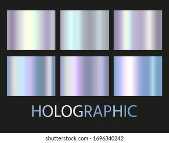 Holographic and golden foil texture background set. Vector graphic iridescent neon patterns. Gold hologram metalic gradient collection.