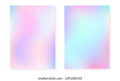 Holographic gradient background set with hologram cover. 90s, 80s retro style. Iridescent graphic template for flyer, poster, banner, mobile app. Rainbow minimal holographic gradient.