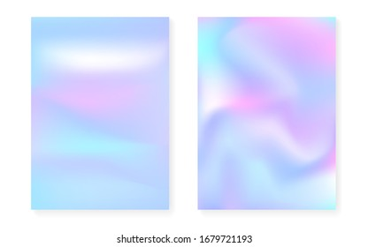 Holographic gradient background set with hologram cover. 90s, 80s retro style. Iridescent graphic template for brochure, banner, wallpaper, mobile screen. Plastic minimal holographic gradient.
