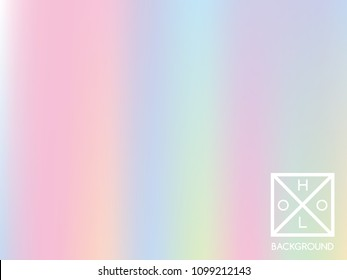 Holographic gradient background. Yellow, green, red, pink, blue, purple, magenta fluid colors. Vector pastel rainbow cover. Hipster texture. Hologram multicolored backdrop. Iridescent trendy foil.