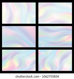 Holographic gradient mesh set vector illustration. Colorful iridescent pastel background.