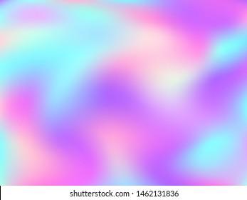 Holographic gradient neon vector illustration. Electro iridescent mermaid background. Liquid colors neon background. Simple gradient neon holographic backdrop shimmer print.