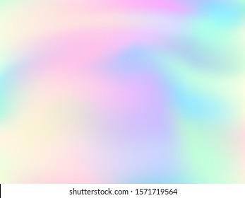 Holographic gradient neon vector illustration. Fashionable pastel rainbow unicorn background. Hologram colors liquid background. Translucent gradient neon holographic backdrop shimmer print.