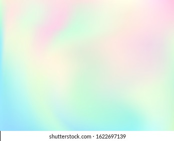 Holographic gradient neon vector illustration. Blurry pastel rainbow unicorn background. Liquid colors neon background. Mesmerizing gradient neon holographic backdrop shimmer print.