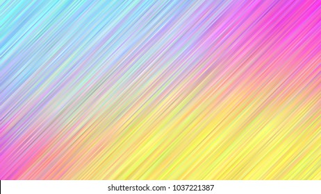 Holographic Gradient Stripes Vector Background. Pastel Rainbow Shiny Lines Texture. Psychedelic Color Neon Hatching Strokes Surface in Cyan, Blue, Pink, Magenta and Yellow.