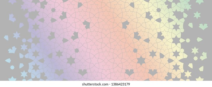 holographic, holo, rainbow arabesque vector seamless pattern. Geometric halftone texture with color tile disintegration or breaking