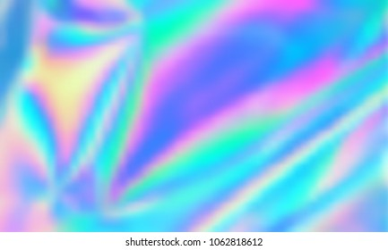 Holographic iridescent gradient mesh vector. Abstract pastel color background illustration surface. Smooth high saturation pastel hologram metallic texture