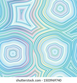 Holographic iridescent rainbow infinite Agate Geode Seamless Repeat Vector Pattern Swatch. Bands and crystal centers. Abstract, natural, contours, raw, earth, stone, rock, mineral. Generative Art.