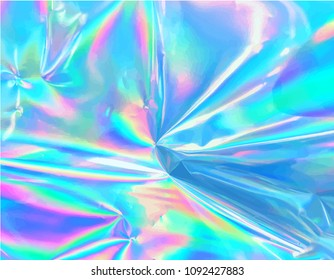 Holographic iridescent vector surface wrinkled foil with pastel colors.