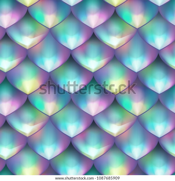 Holographic mermaid tail card or background. Mesh Gradient scales seamless pattern for party. Mermaid