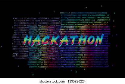Holographic neon glitched binary code on dark background. Hackathon design template: poster, cover, land-page illustration.