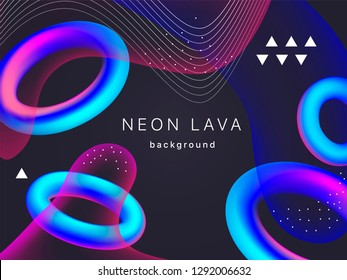 Holographic neon torus vector geometric background for banner or UI design.  Vivid gradient mesh blue rings on black. Fluid colorful abstract shapes in mask EPS 10