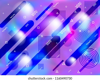 Holographic paper cover memphis background in neon colors. Chic fashion cover background with neon gradient hologram, halftone and memphis confetti. Holographic vector design for presentation.