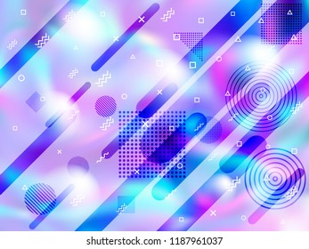 Holographic paper cover memphis background in neon colors. Digital business cover background with neon gradient hologram, halftone and memphis confetti. Holographic vector design for presentation.