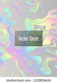 Holographic paper glitter foil marble vector pattern. Fashion magazine cover background with rainbow spectrum metallic gradient hologram. Silver holographic foil paper pattern  marble design.