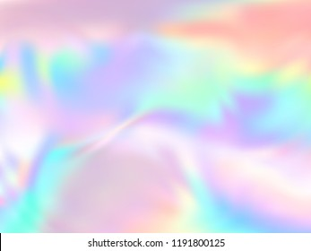Holographic paper trendy background in neon colors. Fashion magazine cover background with neon metallic gradient hologram. Holographic vector design for poster, booklet, catalog cover.