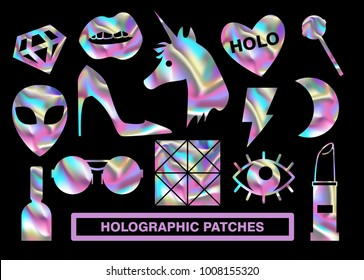Holographic patches. Unicorn, lips, lipstick, alien and other. Contours for holographic stickers.