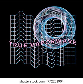Holographic pearly grid with 3d torus on black background.