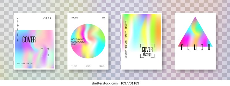 Holographic poster set. Abstract backgrounds. Hipster holographic poster with gradient mesh. 90s, 80s retro style. Pearlescent graphic template for placard, presentation, banner, brochure.