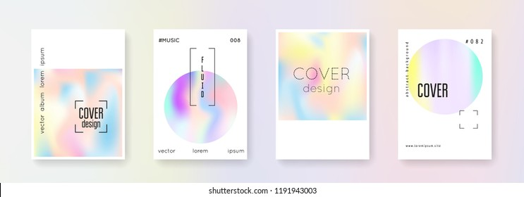 Holographic poster set. Abstract backgrounds. Spectrum holographic poster with gradient mesh. 90s, 80s retro style. Pearlescent graphic template for book, annual, mobile interface, web app.