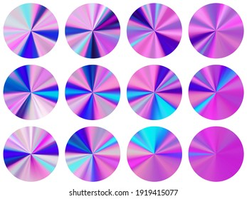 Holographic radial metallic gradient label elements vector collection. Isolated modern swatches. Banner metal gradient texture templates. Icon backgrounds material design.
