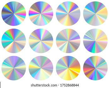 Holographic radial metallic gradient ui button elements vector set. Polished cool medal shapes. Banner metal hologram gradient texture iridescent templates. Label backgrounds material design.