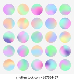 Holographic round frames set. Trendy backdrops for logos, signs or lettering. Hologram bubbles. Pastel smooth textures. Modern vector backgrounds for web design or printed products.