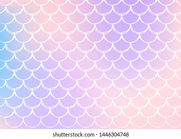 Holographic scale background with gradient mermaid. Bright color transitions. Fish tail banner and invitation. Underwater and sea pattern for girlie party. Neon backdrop with holographic scale.