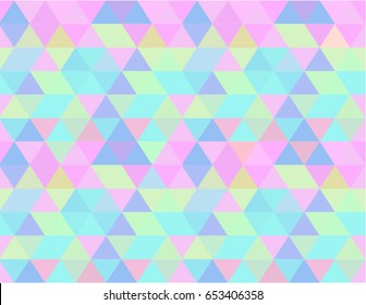 Holographic seamless pattern background wallpaper, abstract geometric illustration in pastels candy colors shades: blue, pink, yellow, liliac, green.