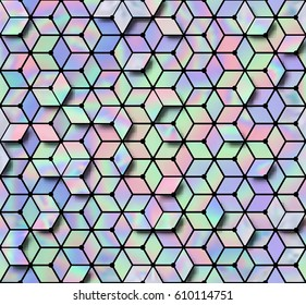 Holographic seamless pattern, crystal mesh. Modern style trends 80. Surreal hipster images. Bright holographic backgrounds. Geometric abstract background. Vector illustration 10 EPS.